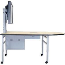 Adjustable Height Collaboration Table with High-Pressure Laminate Work Surface and Storage Compartment - 72