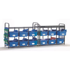 Storage Room Organizer for Leveled Literacy Program with 12 Open Tubs - Blue