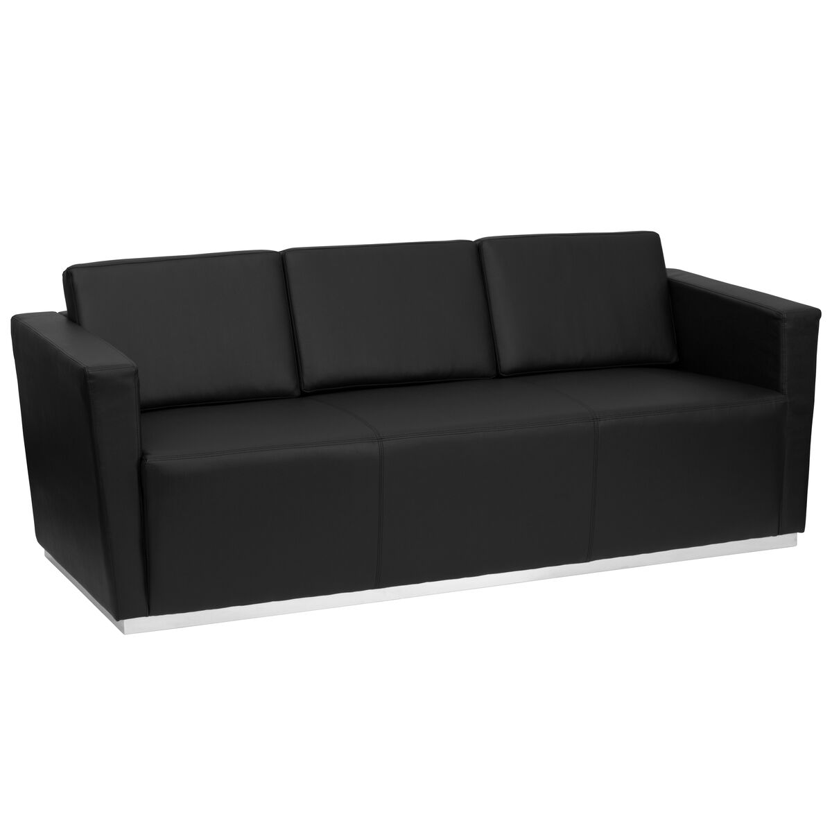 Black Leather Sofa Office: Flash Furniture ZB-TRINITY-8094-SOFA-BK-GG