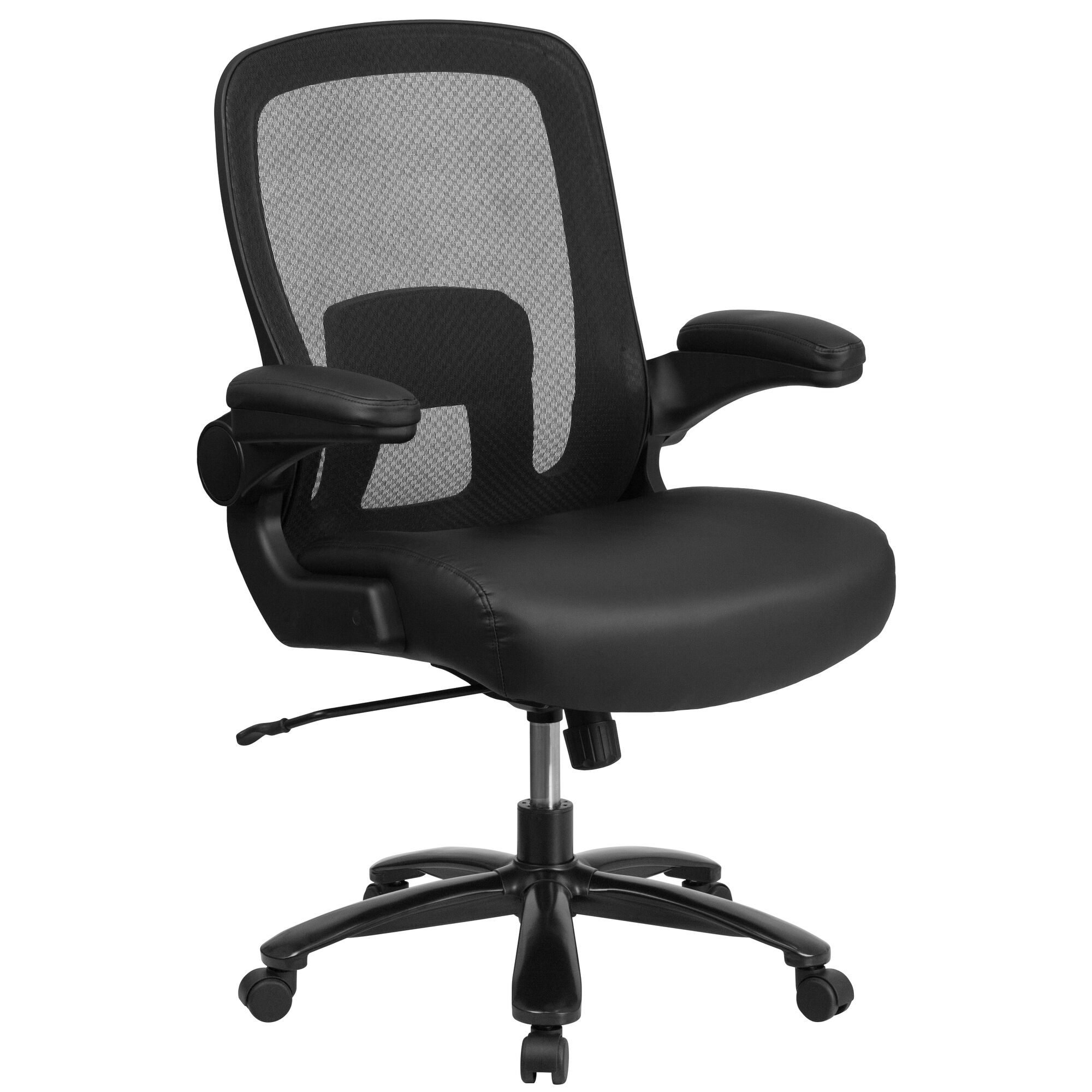 Hercules Series Big Tall 500 Lb Rated Black Mesh Leather Executive Ergonomic Office Chair With Adjustable Lumbar