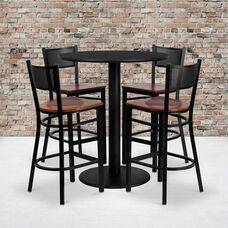 36'' Round Black Laminate Table Set with Grid Back Metal Barstool and Cherry Wood Seat, Seats 4