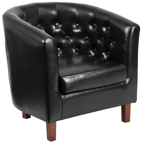 Our HERCULES Cranford Series Black LeatherSoft Tufted Barrel Chair is on sale now.