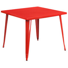 """Commercial Grade 35.5"""" Square Red Metal Indoor-Outdoor Table"""