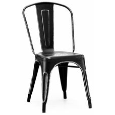 Dreux Stackable Vintage Matte Black - Silver Steel Side Chair - Set of 4