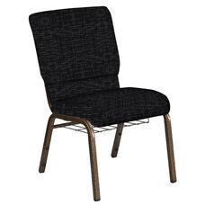 18.5''W Church Chair in Amaze Ebony Fabric with Book Rack - Gold Vein Frame