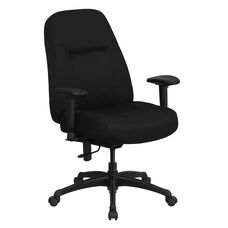 HERCULES Series 400 lb. Rated High Back Big & Tall Black Fabric Executive Ergonomic Office Chair with Adjustable Arms