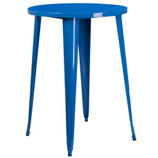 "Commercial Grade 30"" Round Blue Metal Indoor-Outdoor Bar Height Table"