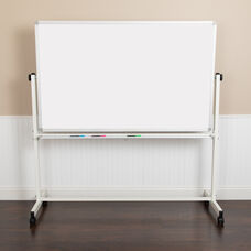 "HERCULES Series 64.25""W x 64.75""H Double-Sided Mobile White Board with Pen Tray"