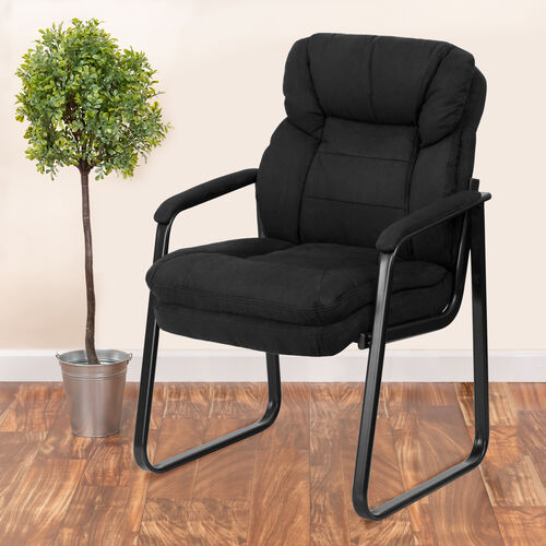 Executive Side Reception Chair with Lumbar Support and Sled Base