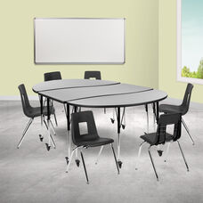 """Mobile 86"""" Oval Wave Collaborative Laminate Activity Table Set with 18"""" Student Stack Chairs, Grey/Black"""