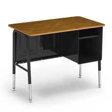 Quick Ship 765 Series Jr. Executive Desk with Medium Oak Laminate Top and Black Frame - 20