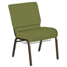 Embroidered 21''W Church Chair in Canterbury Olive Fabric with Book Rack - Gold Vein Frame