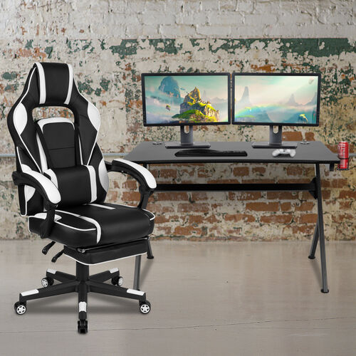BlackArc Black Gaming Desk with Cup Holder/Headphone Hook/2 Wire Management Holes & White Reclining Back/Arms Gaming Chair with Footrest