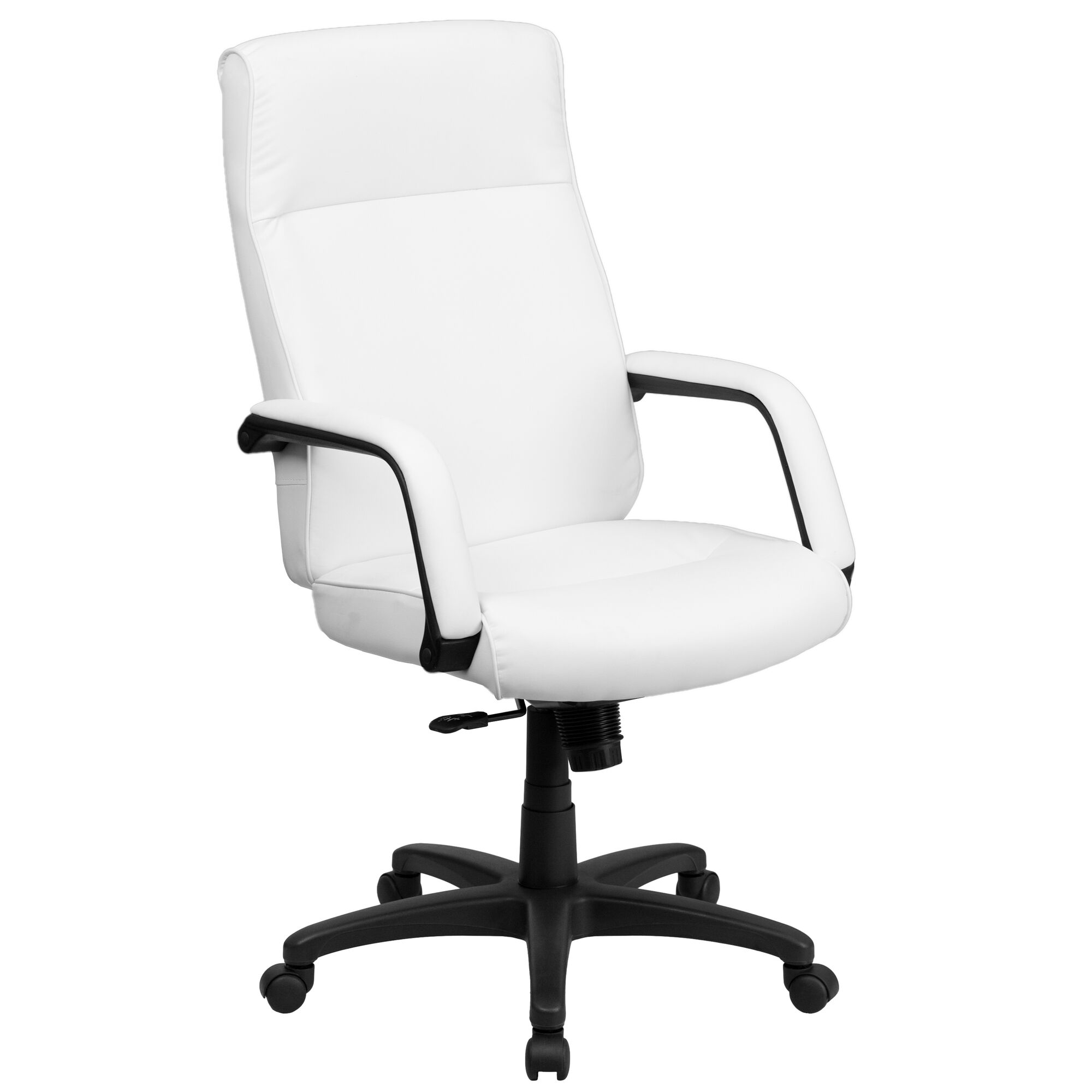 High Back White Leather Executive Swivel Ergonomic Office Chair with Memory  Foam Padding and Arms
