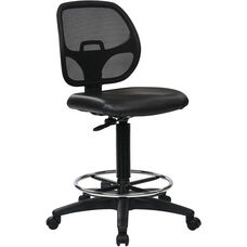 Work Smart Deluxe Mesh Back Vinyl Seat Drafting Chair with Adjustable Foot Ring - Black