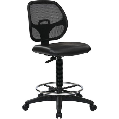 Our Work Smart Deluxe Mesh Back Vinyl Seat Drafting Chair with Adjustable Foot Ring - Black is on sale now.