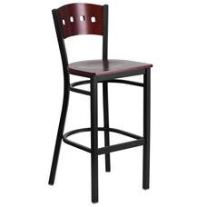 Black Decorative 4 Square Back Metal Restaurant Barstool with Mahogany Wood Back & Seat