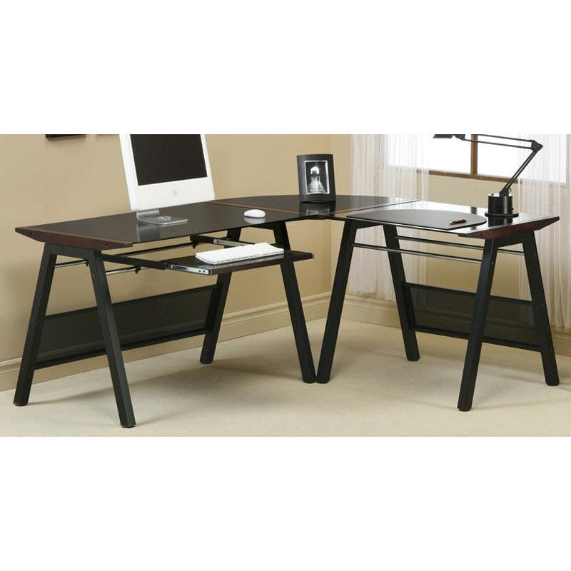 ... Our L Shaped Computer Desk With Walnut Accents And Metal Frame   Black  Is On