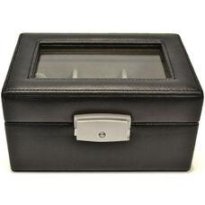 Luxury Three Slot Watch Box - Genuine Leather - Black