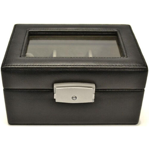 Our Luxury Three Slot Watch Box - Genuine Leather - Black is on sale now.