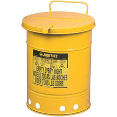 14 Gallon Steel Hand-Operated Oily Waste Can - Yellow