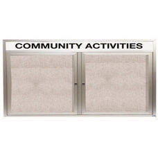 2 Door Outdoor Illuminated Enclosed Bulletin Board with Header and Aluminum Frame - 36