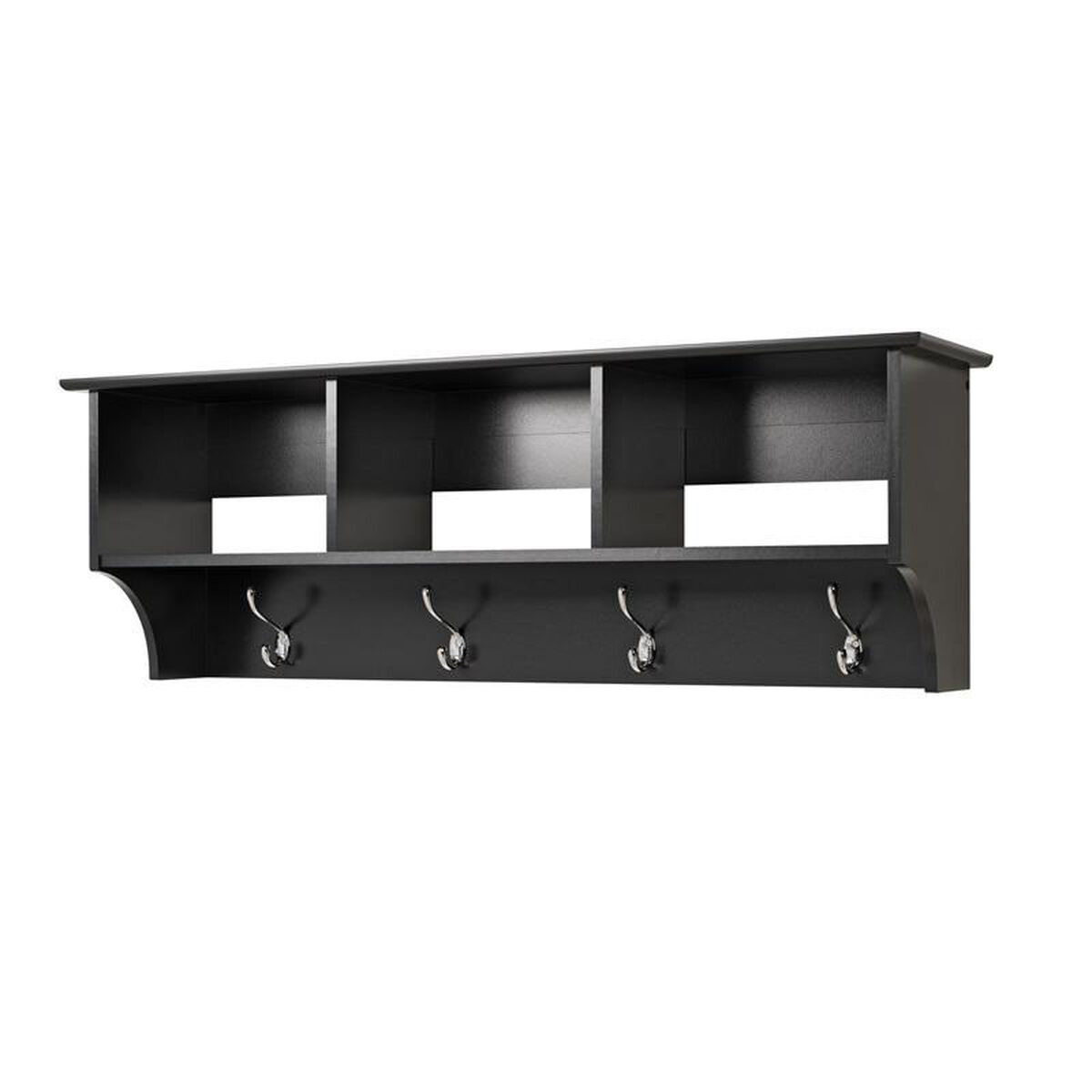 Our Sonoma Entryway Cubbie Shelf With 3 Open Storage Compartments And 4 Coat Hooks Black