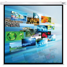 White Wall Mountable Electric Projection Screen with Matte White Fabric Screen and White Powder-Coated Aluminum Housing - 84