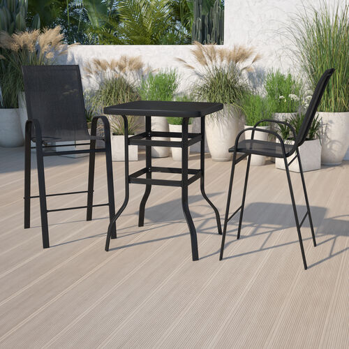 Outdoor Dining Set - 2-Person Bistro Set - Outdoor Glass Bar Table with All-Weather Patio Stools