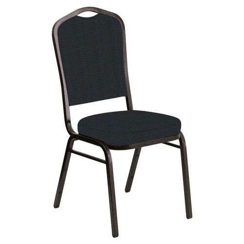 Our Embroidered Crown Back Banquet Chair in Mainframe Bay Blue Fabric - Gold Vein Frame is on sale now.
