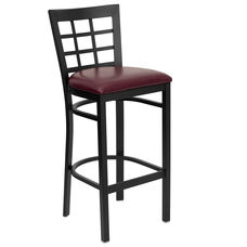 Black Window Back Metal Restaurant Barstool with Burgundy Vinyl Seat