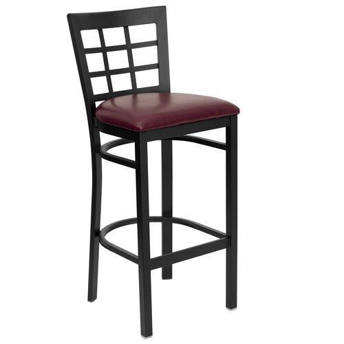 Our Black Window Back Metal Restaurant Barstool with Burgundy Vinyl Seat is on sale now.