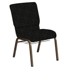 Embroidered 18.5''W Church Chair in Jasmine Pewter Fabric with Book Rack - Gold Vein Frame