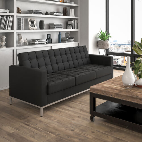 HERCULES Lacey Series Contemporary Button Tufted LeatherSoft Sofa with Integrated Stainless Steel Frame