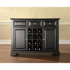 Buffet Server and Sideboard Cabinet with Wine Storage with LaFayette Style Feet - Black Finish