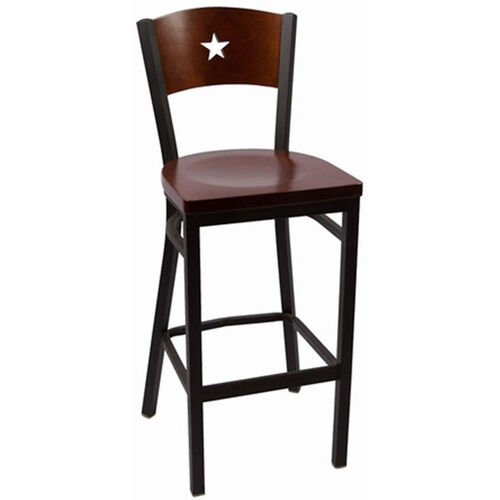 Our Liberty Series Wood Back Armless Barstool with Steel Frame and Wood Seat - Walnut is on sale now.