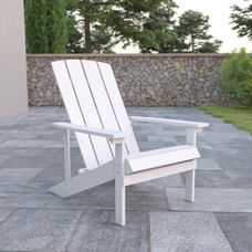 Charlestown All-Weather Poly Resin Wood Adirondack Chair in White