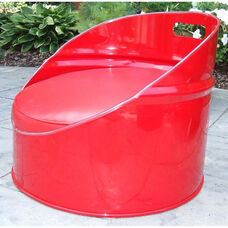 Very Red Steel Drum Gaming Chair with Red Accents
