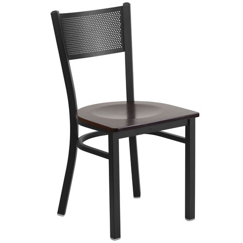 Our Black Grid Back Metal Restaurant Chair with Walnut Wood Seat is on sale now.
