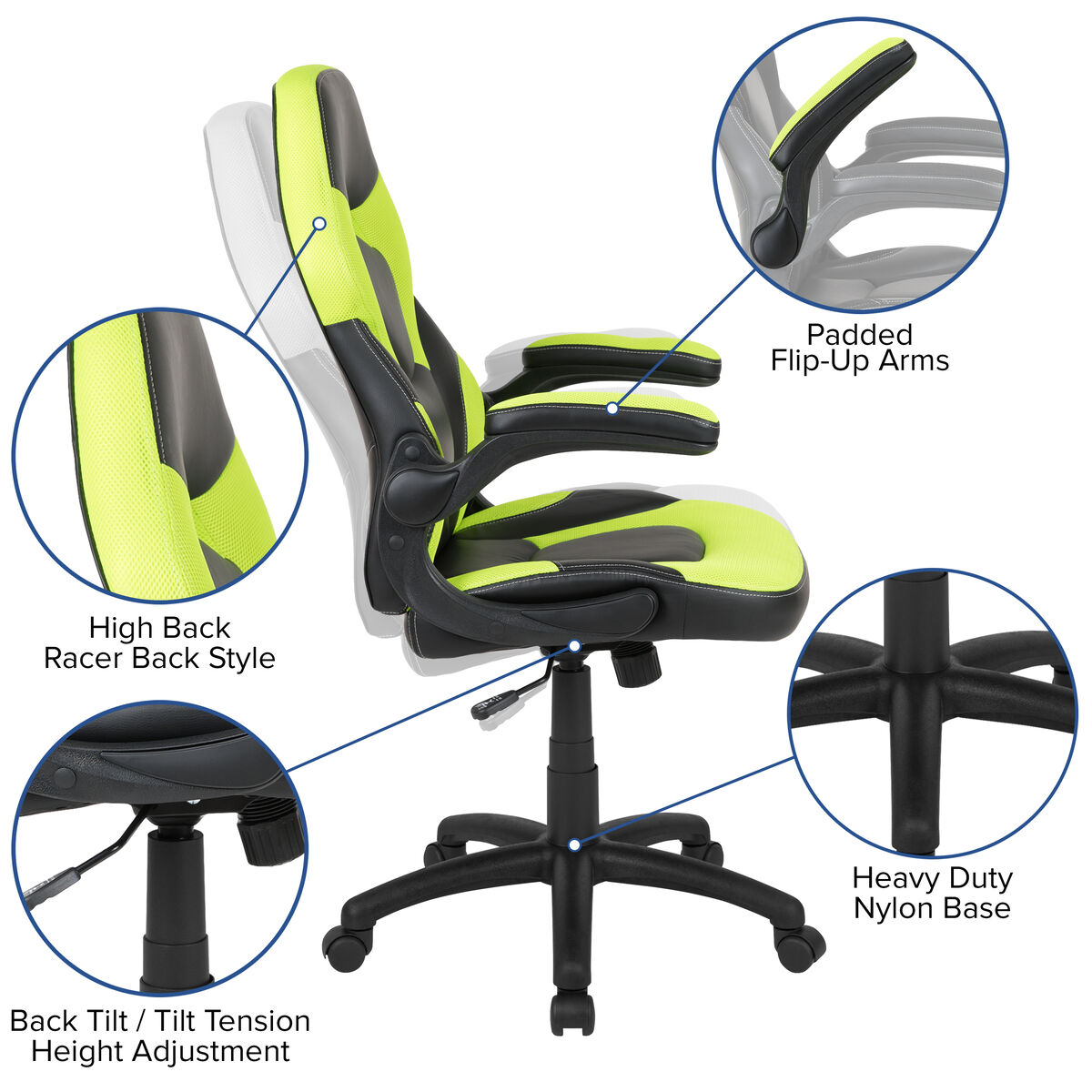 Astonishing X10 Gaming Chair Racing Office Ergonomic Computer Pc Adjustable Swivel Chair With Flip Up Arms Neon Green Black Leathersoft Ocoug Best Dining Table And Chair Ideas Images Ocougorg