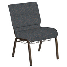 Embroidered 21''W Church Chair in Circuit Leaf Fabric with Book Rack - Gold Vein Frame