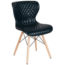 Riverside Contemporary Upholstered Chair with Wooden Legs in Blue Vinyl