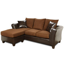 Peyton Transitional Style Faux Leather and Fabric Two Tone Chaise Sofa - Denver Mocha and Flat Suede Chocolate