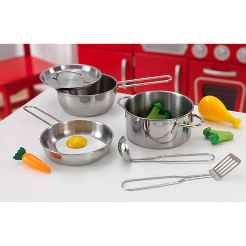 Our Kids Make-Believe Deluxe Metal Cookware and Wooden Food Play Set is on sale now.