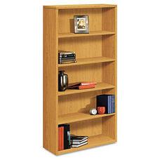 HON® 10500 Series Laminate Bookcase - Five-Shelf - 36w x 13-1/8d x 71h - Harvest