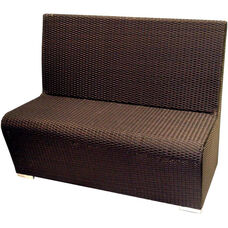 Villa Low Back Modern Polyethylene Wicker Indoor/ Outdoor Booth Bench