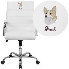 Embroidered Mid-Back White Leather Executive Swivel Chair with Chrome Base and Arms