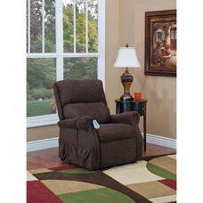 Economy Model Two Way Reclining Power Lift Chair with Heat and 2 Vibrate Settings - Encounter Chocolate Fabric