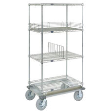 Wire Shelf Dolly Truck W/Rubber 2 Braking Wheels - 24