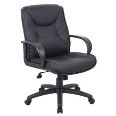 Chairs@Work LeatherPlus Mid Back Chair - Black